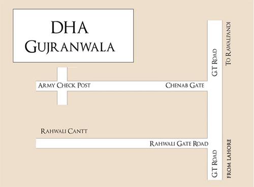 DHA Gujranwala location map