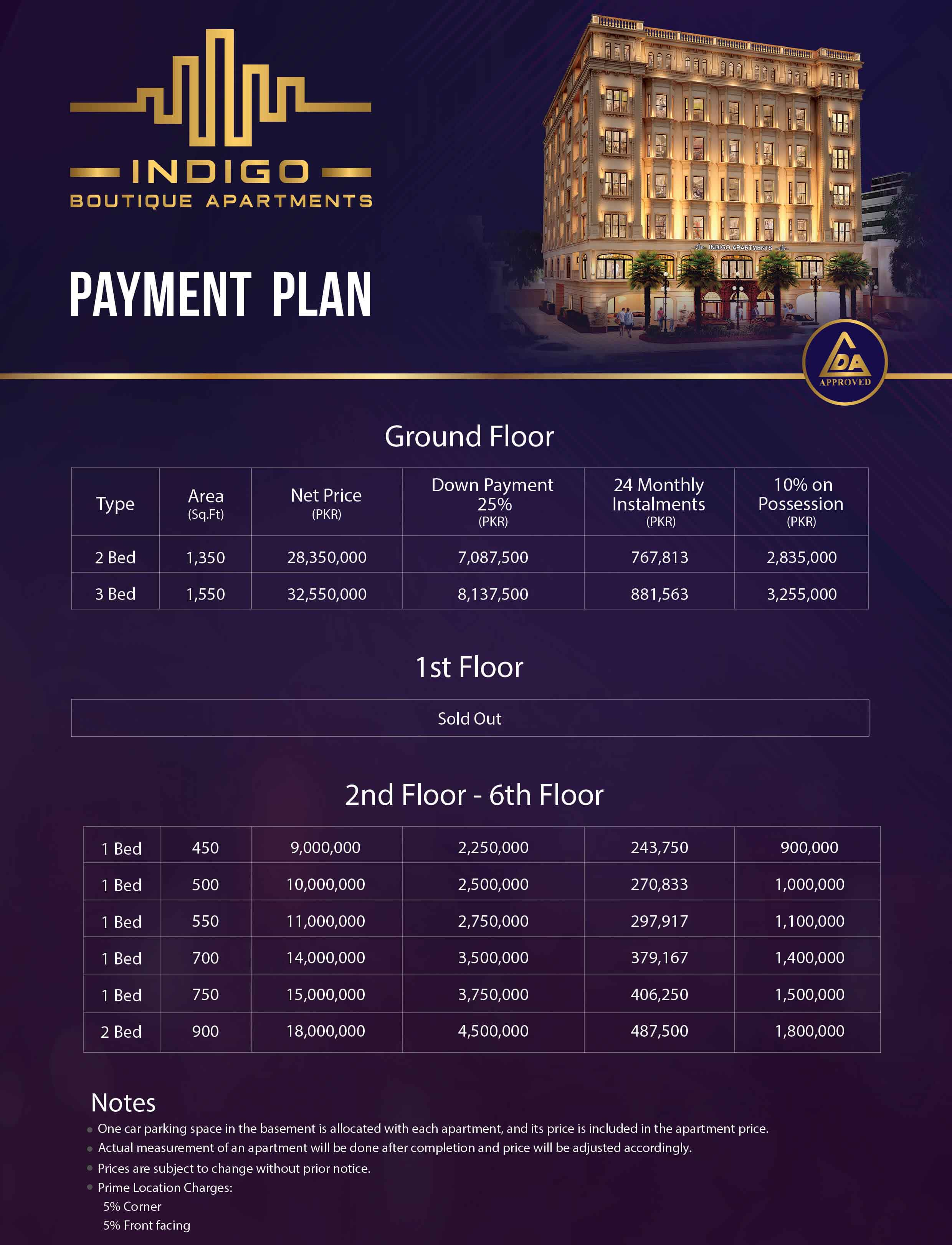 Indigo Boutique apartments Payment Plan