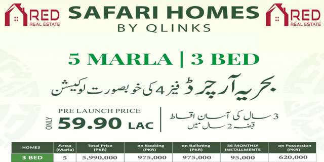 5 Marla Safari Homes Bahria Orchard Phase 4 On 3 Years Easy Installment Plan