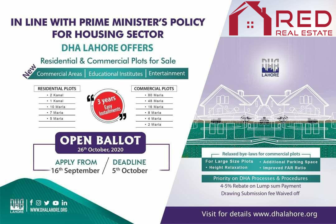 DHA Lahore Residential and-commercial-plots for sale on Installment