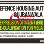 Expression of Intent Firms Pre-Qualification For Mega Projects – DHA Gujranwala