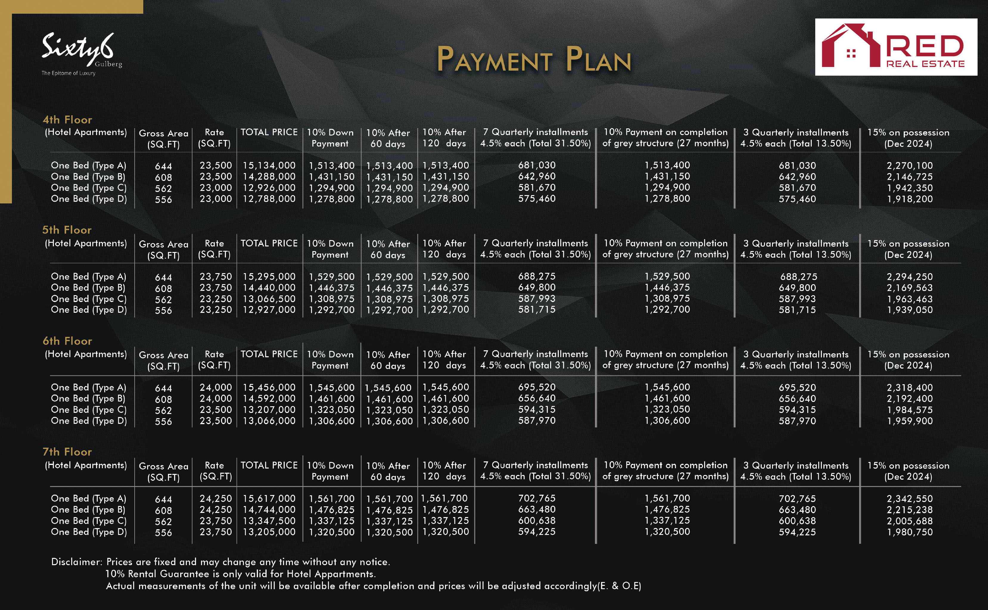Sixty6 Gulberg Apartments Payment Plan