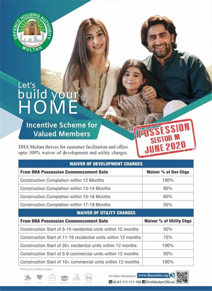DHA Multanoffers 100% waiver of development and Utility charges